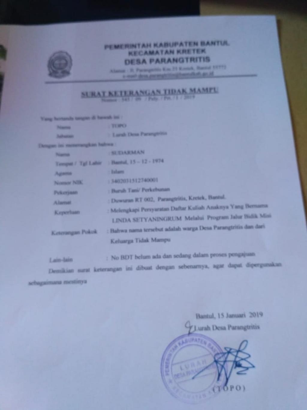 Pembuatan Surat Keterangan Tidak Mampu Sktm Desa